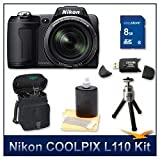 "Nikon Coolpix L110 Digital Camera (Black), 12.1 Megapixels, 15x Wide-Angle Optical Zoom (28-420mm), 3"" High Resolution LCD, 8 GB Memory Card, Card Reader, Lens Cleaning Kit, Digpro Deluxe Carrying Case, & Tripod"