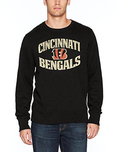 NFL Cincinnati Bengals Men's OTS Fleece Crew, Distressed Marbleton, Medium