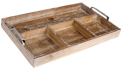 Dwellbee Rustic Industrial Wood Ottoman, Breakfast, Serving, Organizing Tray (Rectangular with 4...