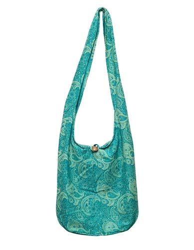 SLING Bag COTTON 40 PRINTs Men or Women CROSSBODY bag LARGE BOHO hippie hobo handbag (Paisley Green)