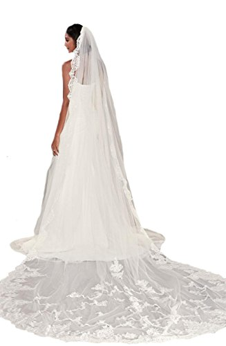 Passat Diamond White Single-Tier 3M Cathedral statement French lace wedding accesories Veil DB77 by Passat