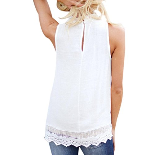 Mikey Store 2018 New Women Casual Tops, Sleeveless Shirt Summer Vest Blouse (XXX-Large, White)