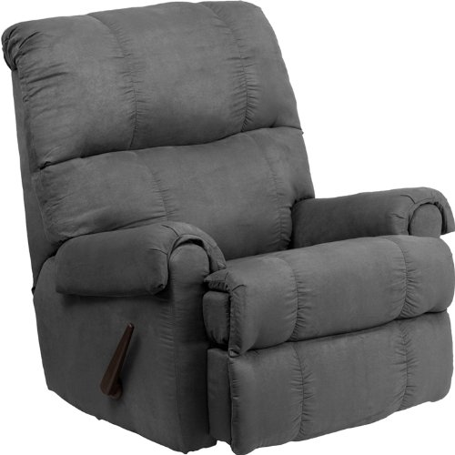 Flash Furniture Contemporary Flatsuede Graphite Microfiber Rocker Recliner