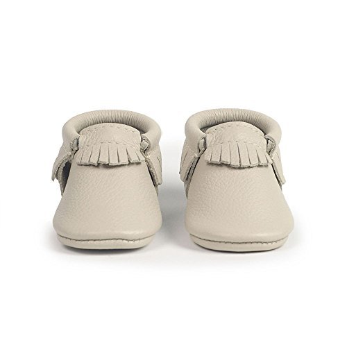Freshly Picked Soft Sole Leather Baby Moccasins - Birch - Size 6 by Freshly Picked