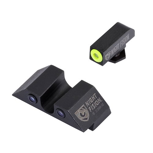 - Night Fision GLK-001-007-YGZG Perfect Dot Night Sight Set, Glock 17/17L/19/22-28/31-35/37-39, Front, U Rear, Yellow Front with Grn Tritium, Black Rear with Grn Tritium