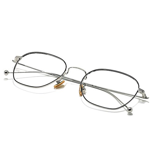 Slocyclub Oversized Metal Thin Frame Eyeglasses Retro Fashion Non-prescription Lens