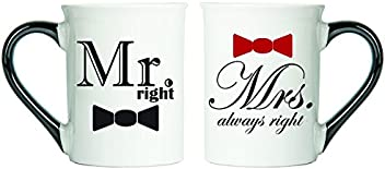 Mr. Right, Mrs.Always Right Mugs, Set Of Two Large Coffee Cups, Couples Mugs, Valentine Gifts By Tumbleweed