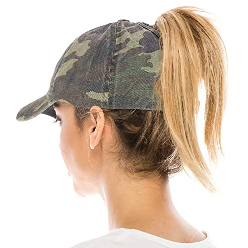 (Trendy Apparel Shop Ladies Military Cotton Ponytails Camo Frayed Baseball Cap - CAMO)