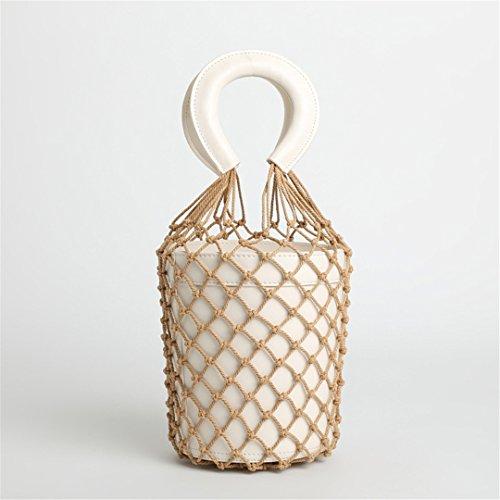 Mano Rope De Women Bolso Luxury White Bucket Summer Knit out Handbags Beach White De Travel Leather Bag Bolsos Net Femeninos Designer Fashion Hollow Mano TdxxSw
