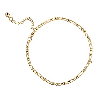 Nice Golden Plated Chain, Anklet Figaro Lobster Clasp 23cm+5cm-1 piece …