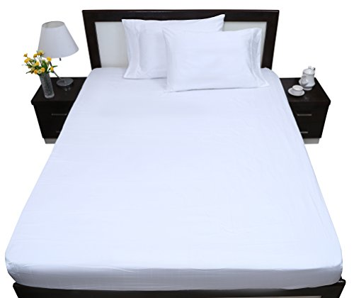 1356 Flat - Rajlinen 100% Cotton - 400 Thread Count - 1 Qty Flat Sheet Only - Sateen Weave - Queen Size - White Solid