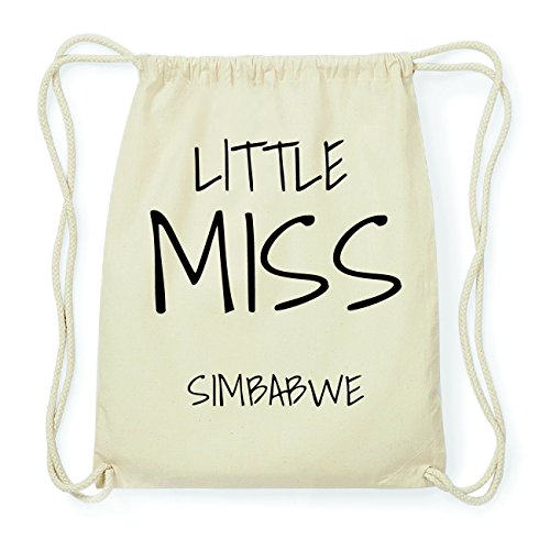 JOllify SIMBABWE Hipster Turnbeutel Tasche Rucksack aus Baumwolle - Farbe: natur Design: Little Miss mhiCt