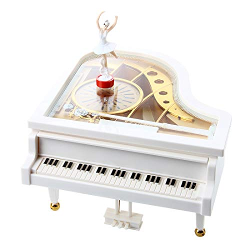 (Christmas Product - Carillon Music Box Grand Piano White Ballerina - Will Dance Mechanism Perfect Phantom Light Friend Away Summers Easter Twinkle Somewhere Birthday Spirited Magic Lullaby H)