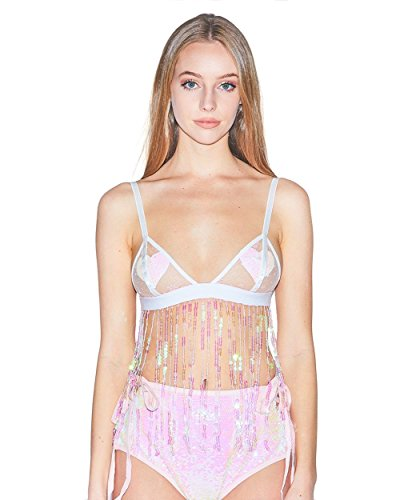 - iHeartRaves White Mesh Sugar Plum Holographic Sequin Fringe Rave Bralette (X-Large)
