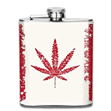 3D Print Cannabis Leaf Flag Hip Flasks Jacket Pocket Flask Modern,Sophisticated,Discreet Alcohol Flask,Sleek Canteens That Hold Whiskey,Rum,Scotch,Vodka 7 0z of Liquor