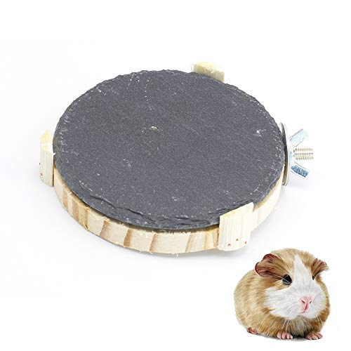 (GNB PET Hamster Chinchilla Chiller Cool Natural Rock Stone Small Animal Habitat Decor, DIY Hamster Cooling Plate, Scratch-Resistant, with Natural Wood Stand Platform)