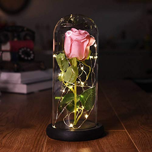 Smartcoco Beauty and The Beast LED Pink Rose in a Glass Dome on a Wooden Base for Mother's Day Birthday Wedding Anniversary Valentine's Best Gift - Mothers Day Pink Rose