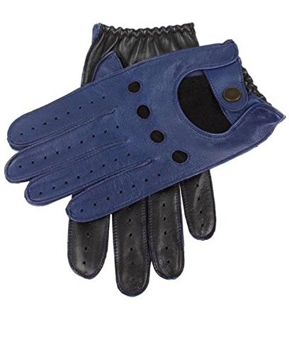 (Men's Two-Tone Unlined Leather Driving Gloves in Blue and Black (X-Large))