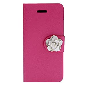 xiao Shimmering Silk Print Protective Full Body Case with Elegant Camellia Button and Card Slot for iPhone 5C (Assorted Colors) , Purple