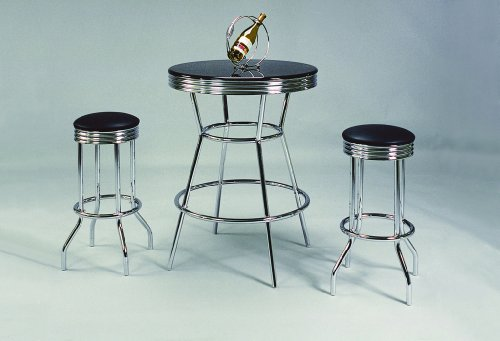 Crown Mark 3905Set Retro 3pc Bar Set w/ 2 stools Black and Chrome ()