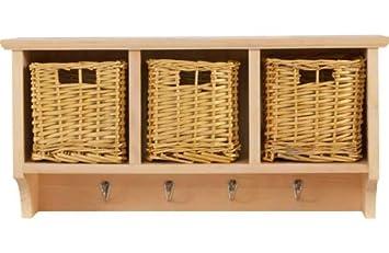 3 basket storage unit with 4 coat hooks solid pine - Coat Hooks With Storage