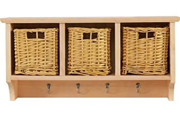 3 basket storage unit with 4 coat hooks solid pine