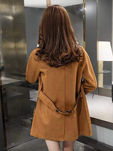 Style Trench Femme avec Unicolore Automne Spcial Casual Revers Poches clair Manteau Latrales Fermeture Fashion Parker Coupe Kamel Bouton Printemps Blouson Manches Jacke Longues teint 8z8adwqFrx