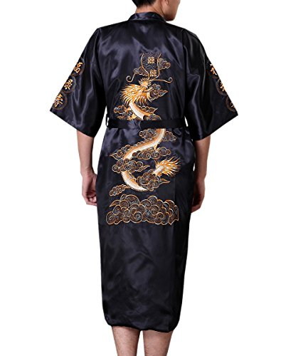 SexyTown Long Satin Lounge Bathrobe Classic Print Kimono Robe Nightgown (Large, Black 2)