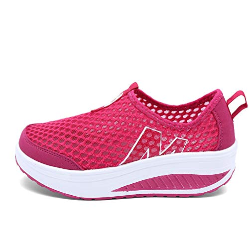 Rojo Platform Qiusa Tacones Transpirables tamaño Color Gris EU Mujeres 38 Rockers Malla con Sole Sneakers Zapatos wqgqA1XZ
