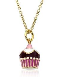Candyland 14K Gold Plated Multi Color Enamel Swirl Cupcake Pendant Necklace