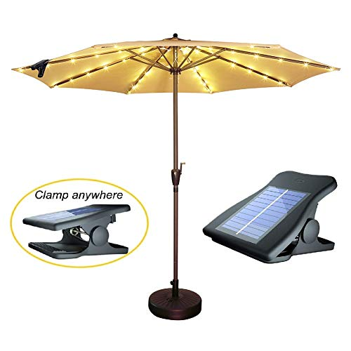 Solar Patio Umbrella Lights Cordless Parasol String Lights With Clip Umbrella Pole Light Solar Powered Waterproof for 7-10foot Umbrella Outdoor Lighting Beach Deck Garden Party Decoration