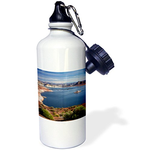 3dRose wb_229673_1''Arizona Lake Powell At Wahweap Far shoreline is In Utah Sports'' Water Bottle, 21 oz, Natural by 3dRose