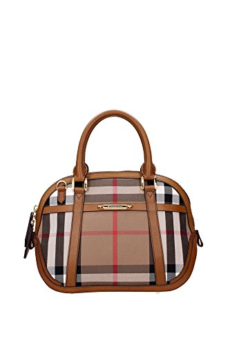Burberry Woman's Orchard Beige Leather House Check Medium Shoulder Bag Handbag