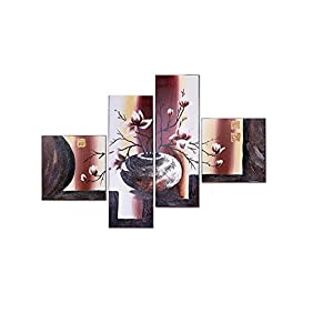 LynHee Stretched and Framed 100% Hand Painted Modern Canvas Wall Art Elegant Flowers Floral Oil Paintings on Canvas Home Decorations 4pcs/set