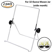Sprouting Stands, Stainless Steel Sprouting Stands Kit for 32 Ounce Mason Jar and Phone iPad Tablet Stand (2 Pack, white)