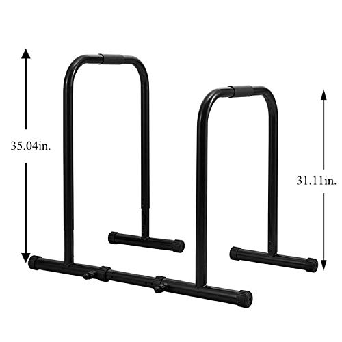 RELIFE REBUILD YOUR LIFE Dip Station Functional Heavy Duty Dip Stands Fitness Workout Dip bar Station Stabilizer Parallette Push Up Stand (Black) by RELIFE REBUILD YOUR LIFE (Image #2)