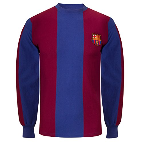 FC Barcelona Official Soccer Gift Mens 1974 Long Sleeve Retro Kit Shirt Small (Jersey Sleeve Long Retro)