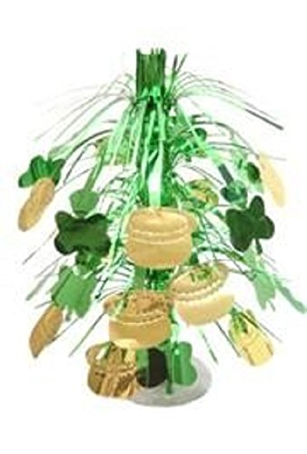 St Patrick's, Metallic Green and Gold Shamrock/Clover with Pot-O-Gold Centerpiece, 18