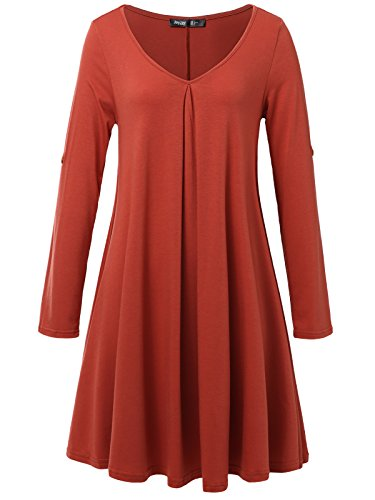 JayJay Women Casual Roll Up Sleeve V-Neck Simple Swing Tunic Shirt Dress,Brick,XL