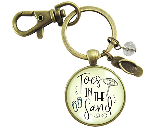 Toes in the San Beach Keychain Vintage Ocean Bronze Nautical Ocean Style Flip Flop Charm Key chain ()