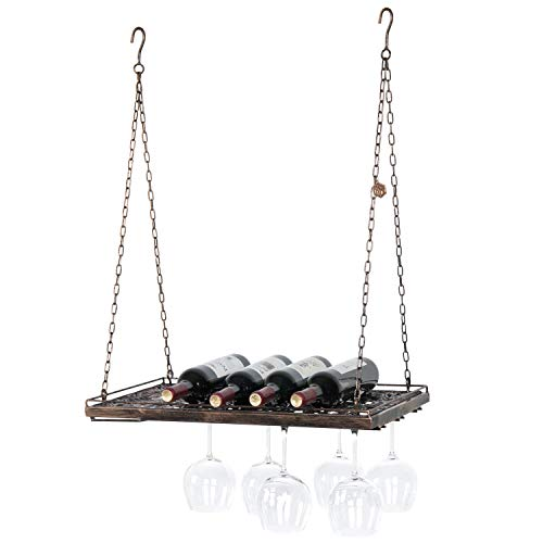 Vineyard Country Rustic Bronze Metal Ceiling Mounted Hanging Stemware Wine Glass Hanger Organizer Rack