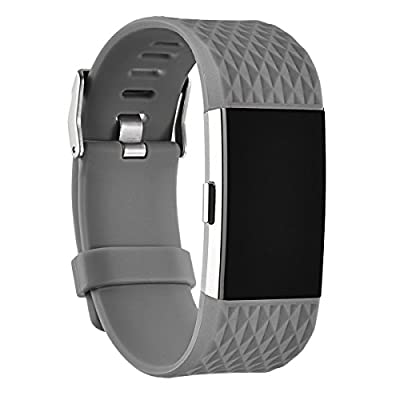 Fitbit Charge 2 Bands, AnsTOP Slicone Replacement Wristbands for Fitbit Charge 2 Shaped Like Diamond Lines.