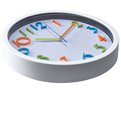 Bernhard-Products-Colorful-Kids-Wall-Clock-10-Silent-Non-Ticking-Quality-Quartz-Battery-Operated-Wall-Clock-Easy-To-Read-3D-Numbers-White