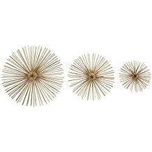 Zeckos Metal Wall Sculptures 3 Piece Gold Finish Spiked Metal Sea Urchin Wall Sculpture Set 12 X 3 X 12 Inches Gold