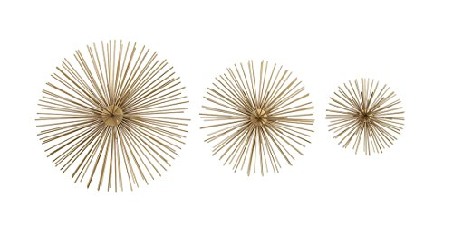 Zeckos 3 Piece Gold Finish Spiked Metal Sea Urchin Wall Sculpture - Starburst Ball