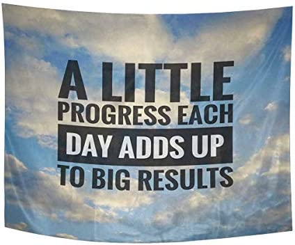 INTERESTPRINT Inspirational Motivating Quotes on Nature Big Results Tapestry Wall Hanging Hippy Tapestries Beach Throw College Dorm Decor, 80W X 60L Inch