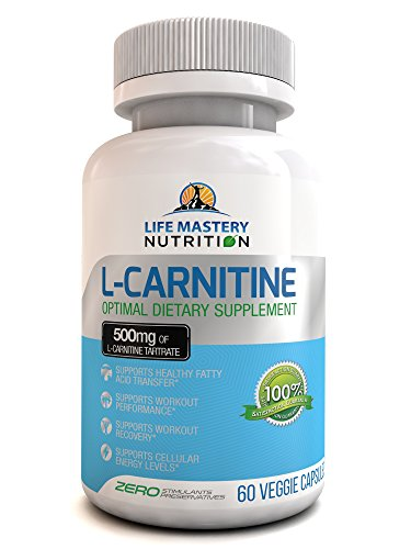 L-Carnitine - L-Tartrate 500mg Powder Capsules High Potency - Best Pure Essential Amino Acids - USA Made - Enhance Workout Performance And Recovery