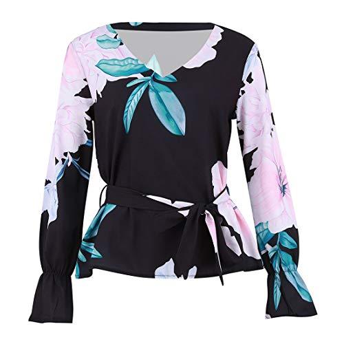 Hauts Casual avec Manches Longues Shirts Tops Automne Blouse Noir et Fashion V Bandage Printemps Chemisier Femmes Col Imprim Tees Shirts T q8EAwIZ