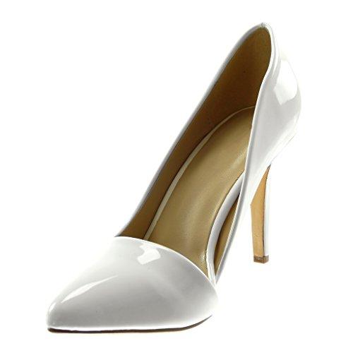 5 Stiletto Verni Haut Escarpin Slip 9 Angkorly Femme Decolleté cm on Mode Aiguille Talon Blanc Chaussure COtxwnqg