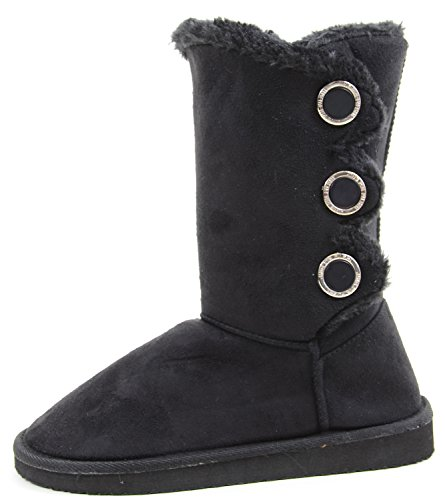 Vegan Flat Funky Furry Button Negro Warm Boots Fourever Suede Slipper n4xOIn